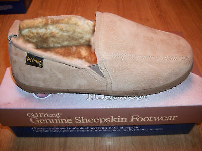 OLD FRIEND MEN'S SHEEPSKIN LEATHER SLIPPER WIDE 8 TO 15