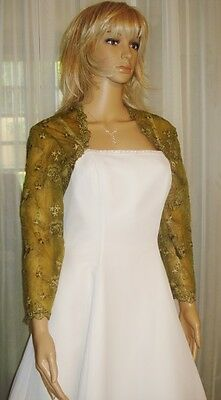 Olive Scalloped Lace 3/4 Sleeve Bolero Shrug Jacket Medium