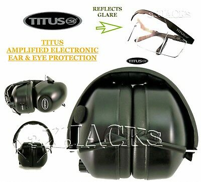 Titus Electronic Ear Muffs & Eye Protection Ansi Ce Z87 Approved Auto Protection