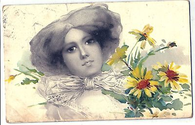 Amazing Art NOUVEAU Lady & Flowers 1907 Postcard