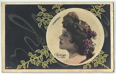 Amazing Art NOUVEAU Lady & Flowers Old Postcard