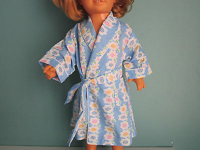 FLOWER STRIPED BLUE ROBE with Piping fits American Girl & Chatty Cathy Dolls