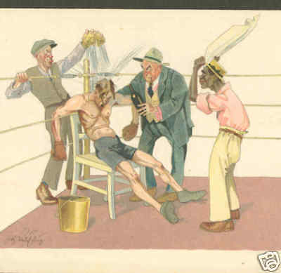Exhausted Boxer Revived By Managers,boxing Postcard