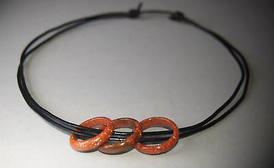 Brown Goldstone Rings Adjustable Layered Black Leather Surf Necklace