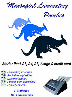 Laminating pouches & paper carrier A3 A4 A5 A6 ID  starter pack from Marsupial