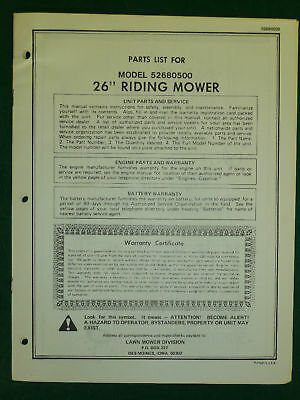 """Amf Western Tool 26"""" Riding Mower Parts Manual"""