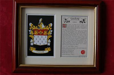 Taylor Framed Heraldic Coat of Arms Crest + History