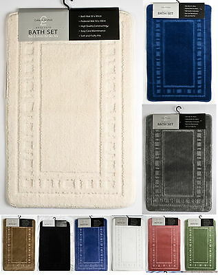 Catherine Lansfield Bathroom Bath Mats Washable - Bath & Pedestal Carpet Rug