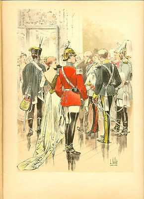 Germany Guards Cavalry Officers Lithography Vallet 1893