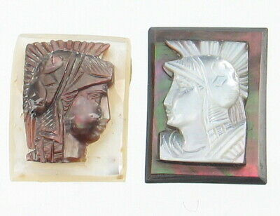 Antique Mother Of Pearl & Abalone Carved Roman Soldiers Jewelry Parts Inserts