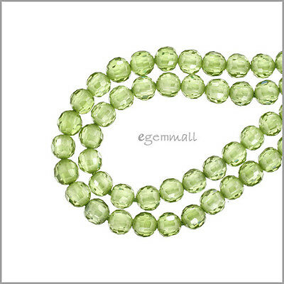 16 Cubic Zirconia Round Beads 4mm Olive Green #64757