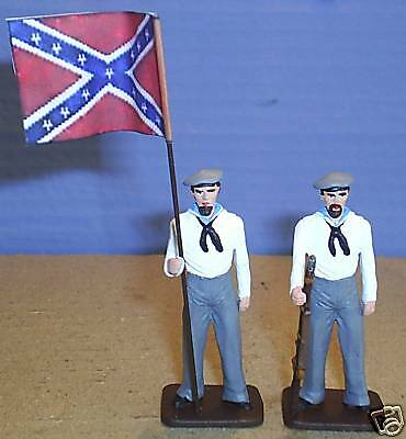 TOY SOLDIERS  METAL CIVIL WAR CONFEDERATE  NAVY FLAG SET 2PC