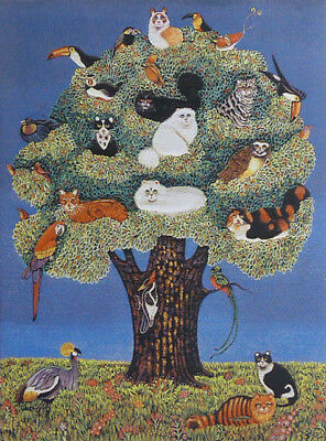 Stretched Needlepoint Woven Painting: Tree Of Cats