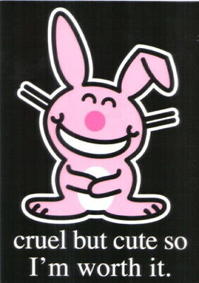 It's Happy Bunny Cruel But Cute Art Postcard MINT NEW