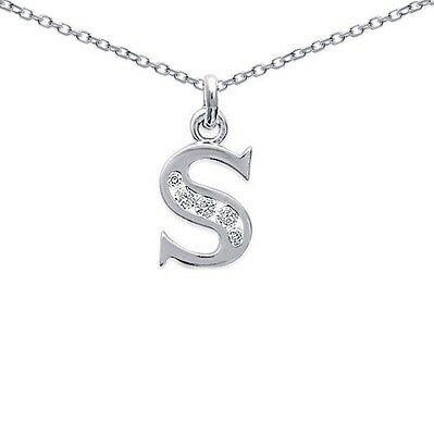 Pendentif Initiale Lettre S ARGENT & ZIRCO Neuf+ CHAINE