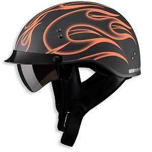 Matte Black & Orange Motorcycle Half Helmet Retractable Sun Visor Dot Xs - Xxl