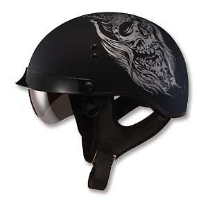 Flat Black Ghost Motorcycle Half Helmet Retractable Visor Cruiser Men Women Gm65