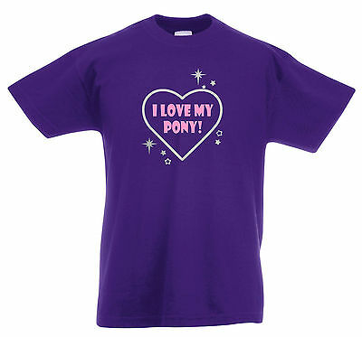 NEW 'I LOVE MY PONY' CHILD'S / KIDS PURPLE T-SHIRT 3-13 Years  Silver / Pink