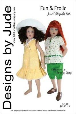 "Fun & Frolic Doll Clothes Sewing Pattern for 14"" Kish"