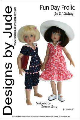 "Fun Day Frolic Doll Clothes Sewing Pattern for 12"" Bethany Kish"