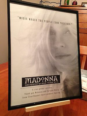 "Big 11X14 Framed Madonna ""2001 Drowned World Tour"" Lp Album Cd Promo Ad"