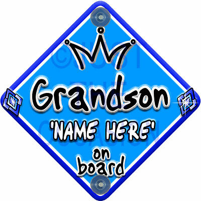 NEW ~ Blue for Boy ~ JEWEL GRANDSON ~ Personalised Baby on Board Car Window Sign
