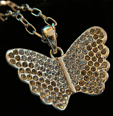Austrian Crystal Gold Plated Butterfly Necklace NEW