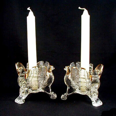 Jeannette Glass EAGLE Candleholders- Crystal w/Gold- Pr
