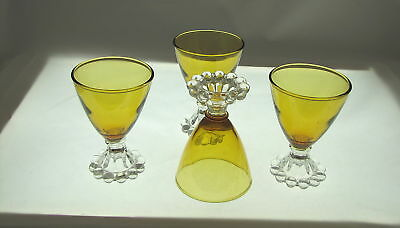 """4 BOOPIE AMBER COCKTAIL GLASSES w CLEAR BASE. 3 7/8"""" t"""