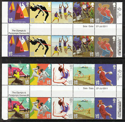 GREAT BRITAIN 2011 OLYMPICS lll GUTTER PAIRS UNMOUNTED MINT, MNH