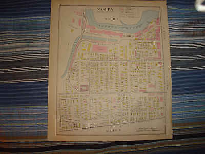 1892 Antique Nashua New Hampshire Handcolored Map Ward 1 6 More Fine Nr