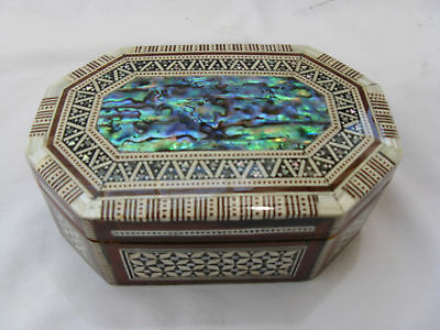 """Egyptian Inlaid Mother of Pearl Paua Jewelry Box 5.5"""" # 444"""