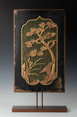19th Century, Qing, Antique Chinese Wooden Panel