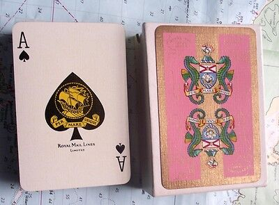 c1940 Box Royal Mail Line Gilded Seahorse Playing Cards