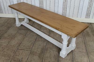 Handmade Pine 7Ft Hall Kitchen Bench With Painted Base