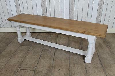 Pine Handmade 8Ft Hall Kitchen Bench With Painted Base