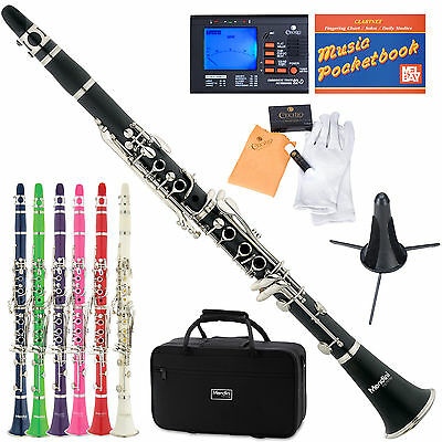 Mendini Bb Clarinet ~Black Blue Green Pink Purple Red White +Tuner+Stand+Case