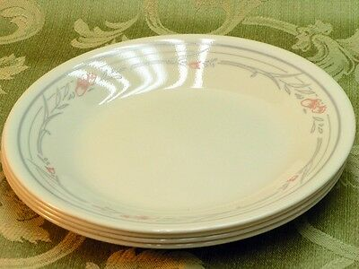 Rose by Corelle Corning LOT 4 BREAD PLATES gray band