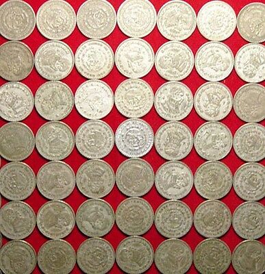 Lot Of 50 Mexican Silver Pesos - Various Years - L@@K