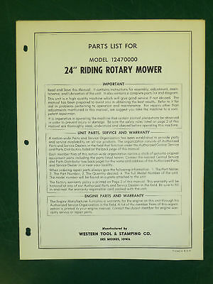 """Amf Western Tool 24"""" Riding Mower Parts Manual 12470000"""