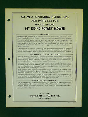 """Amf Western Tool 24"""" Riding Mower Parts Manual 12360000"""