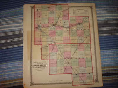 LaSALLE GRUNDY LIVINGSTON COUNTY ILLINOIS ANTIQUE MAP N