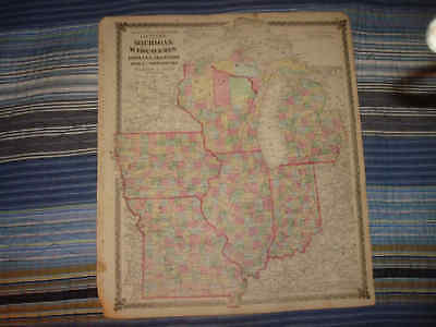 1874 Antique Michigan Wisconsin Missouri Illinois Map N