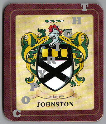 Johnston Heraldic Crest Coat of Arms Coasters Sets of 2