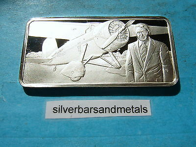 Wiley Post 1933 1St Fly Solo Around World Silver Bar Rare Cool Item