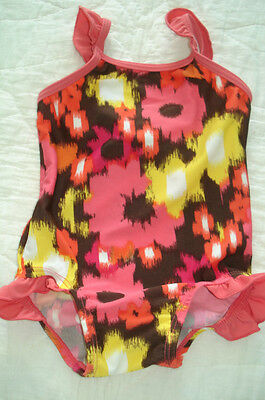 Girl 6 to 12 Month One Piece Floral  Swim Suit w Ruffle