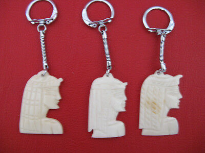 1 Egyptian Camel Bone Keychain Hand Carved Cleopatra