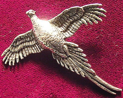 Pewter Wings Spread High Pheasant Brooch Pin Good Shot