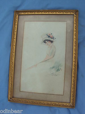 signed WATERCOLOR Painting ANTIQUE FRAME GIRL BIG HAT
