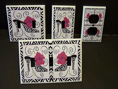 Zebra High Heel Shoe Pink Floral Light Switch Cover Plate  Or Outlet Cover